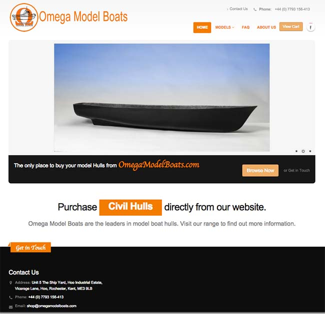 HTML 5 Web design and build for OmegaModelBoats with product pages and paypl integration