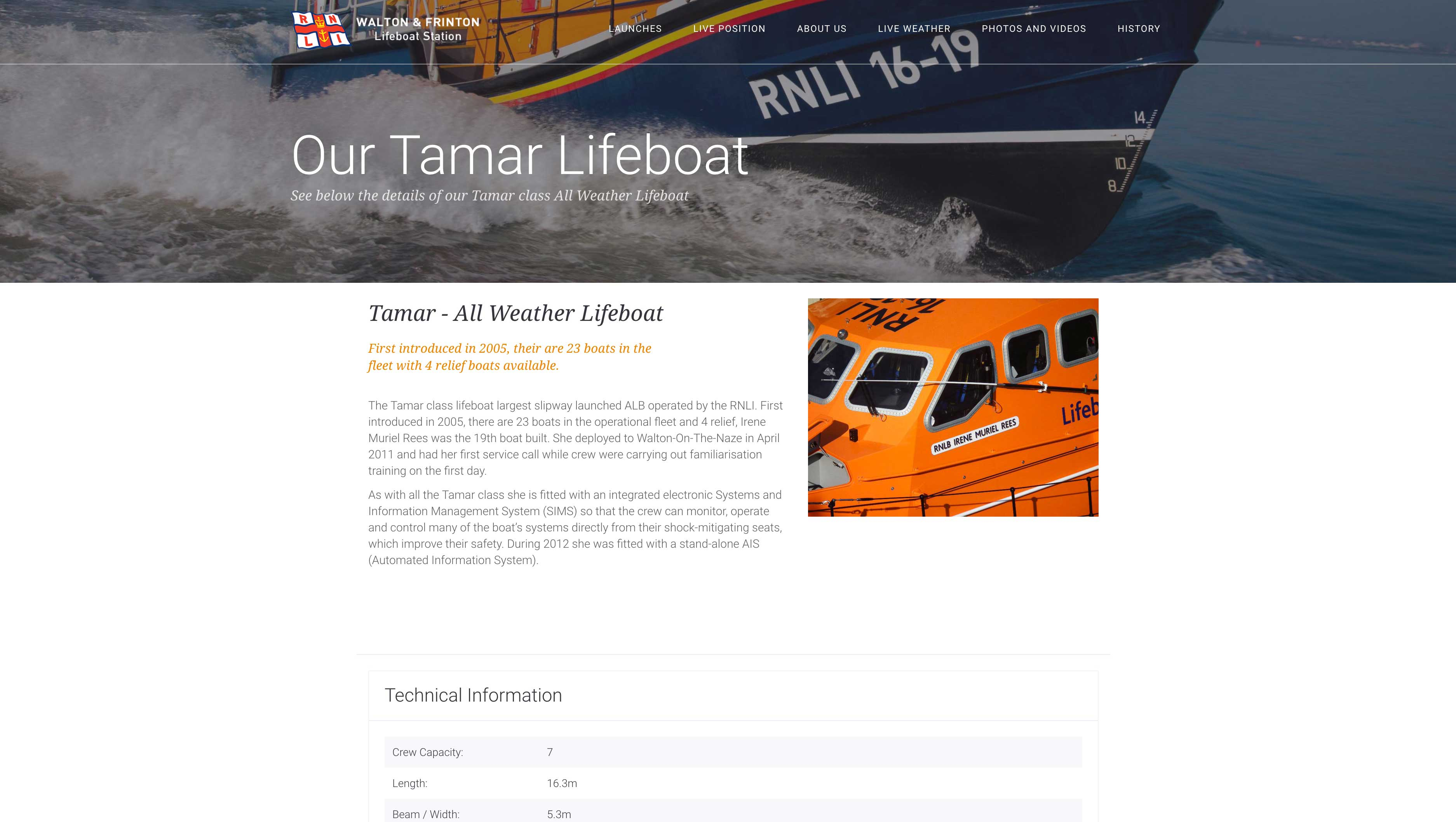 Walton & Frinton Lifeboat Website - Redesigned and engineering from the ground up for a Rich mobile experience ans well as emmersive desktop experience.